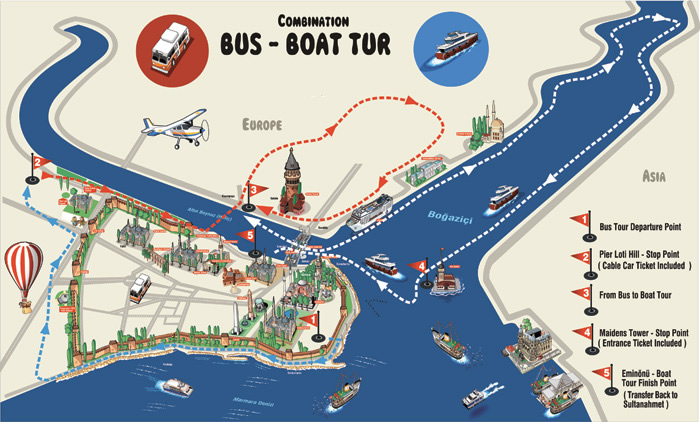 By Bus and Boat Daily Tour In Istanbul